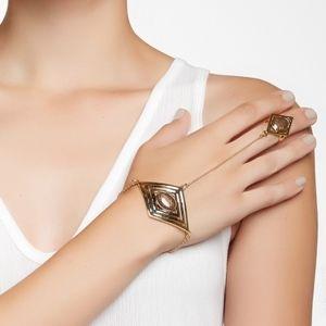 House of Harlow Brown Double Diamond Hand Chain